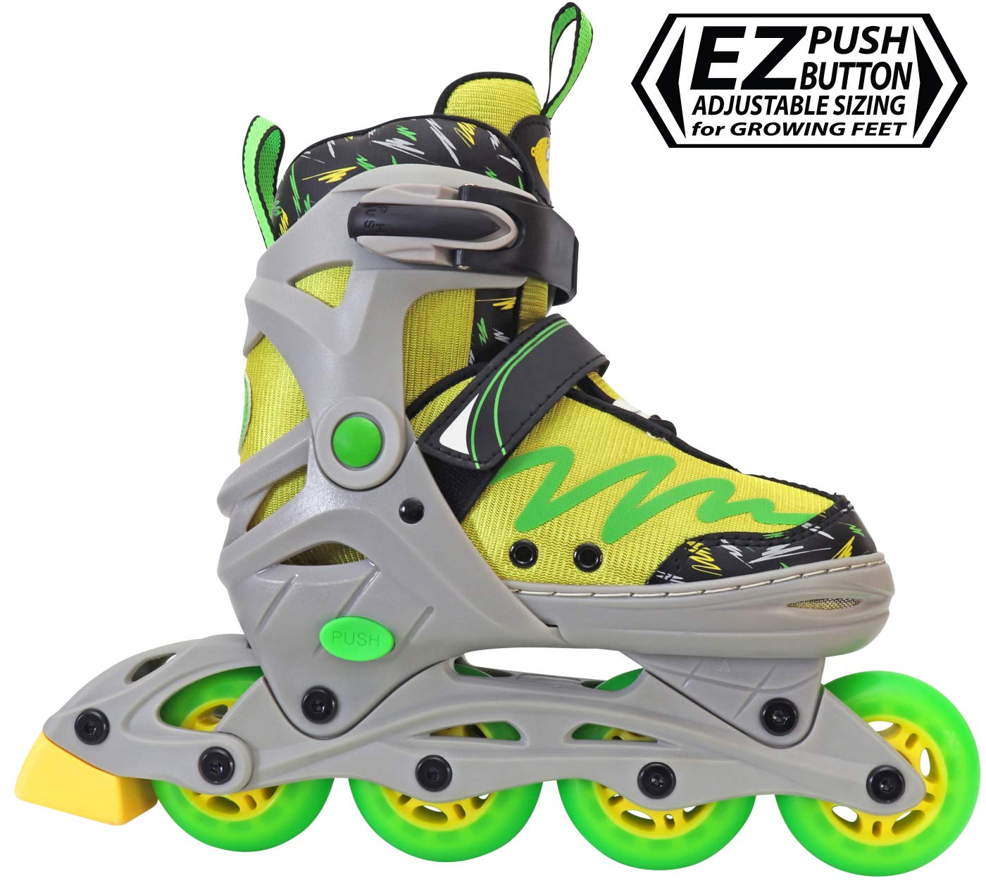 Lenexa Lemon Twist Adjustable Inline Skates Kids Rollerblades Boys - Roller Blades for Youth - rollerskates for Kid, Boy, Girl, Girls - Comfortable fit - Safety Non-Slip Wheels (Green/Yellow)