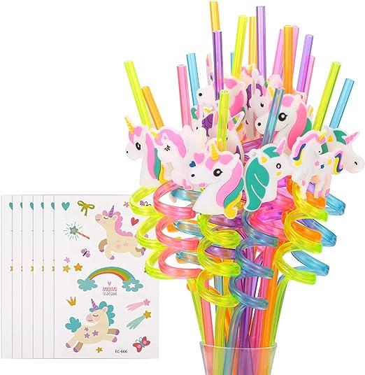 Amazon.com: Pajitas de plástico reutilizables de unicornio + ...