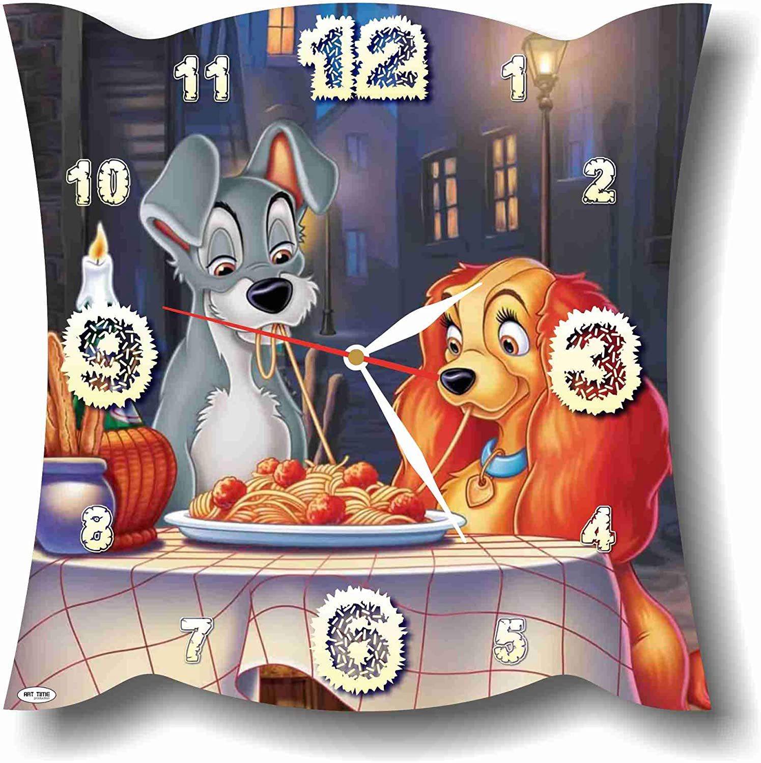 MAGIC WALL CLOCK FOR DISNEY FANS Lady and The Tramp 11'' Handmade Made of Acrylic Glass - Get Unique décor for Home or Office – Best Gift Ideas for Kids, Friends, Parents and Your Soul Mates