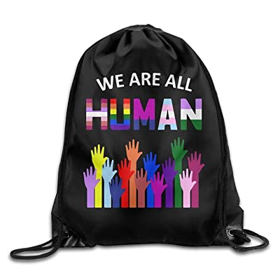 well-wreapped We Are All Human LGBT Gay Drawstring Backpack Bag Beam Mouth School Travel Backpack Rucksack Shoulder Bags For Men/Women