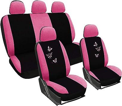 WOLTU AS7247 Sitzbez/üge Auto Schonbez/üge universal Gr/ö/ße schwarz-rosa Butterfly Stickerei
