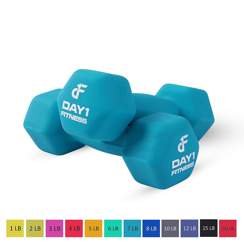 日1 Fitnessネオプレンダンベル – ノンスリップ、六角形状、カラーコード化、読みやすい B07C38XTBZ 7 lb Pair 7 lb Pair