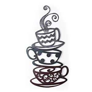 Adeco DN0008 Decorative Iron Wall Hanging Accents, Three Stacked Coffee Tea Cups Decor Widget, Multicolor