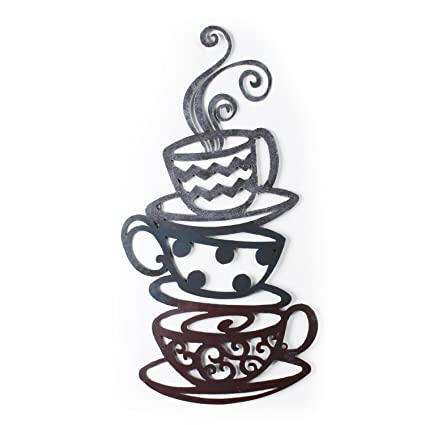 Adeco DN0008 Decorative Iron Wall Hanging Accents, Three Stacked Coffee Tea Cups  Decor Widget,