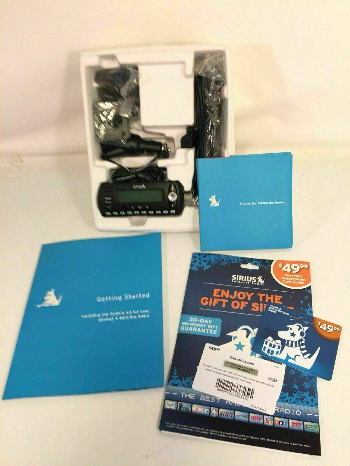 PHOENIX FINDS TREASURES Sirius Satellite Radio Stratus Car Kit Model SV4 Pre Paid Extra