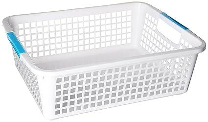 Fittdeals Classroom Baskets Storage Trays, Rectangular, White