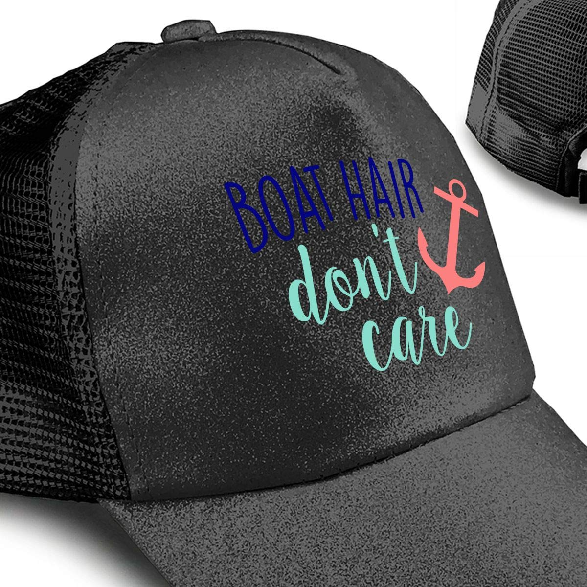 Do Not Care Hair in Boat Sequined Adjustable Ponytail Cap Ponytail Messy Buns Trucker Baseball Visor Cap at Amazon Mens Clothing store: