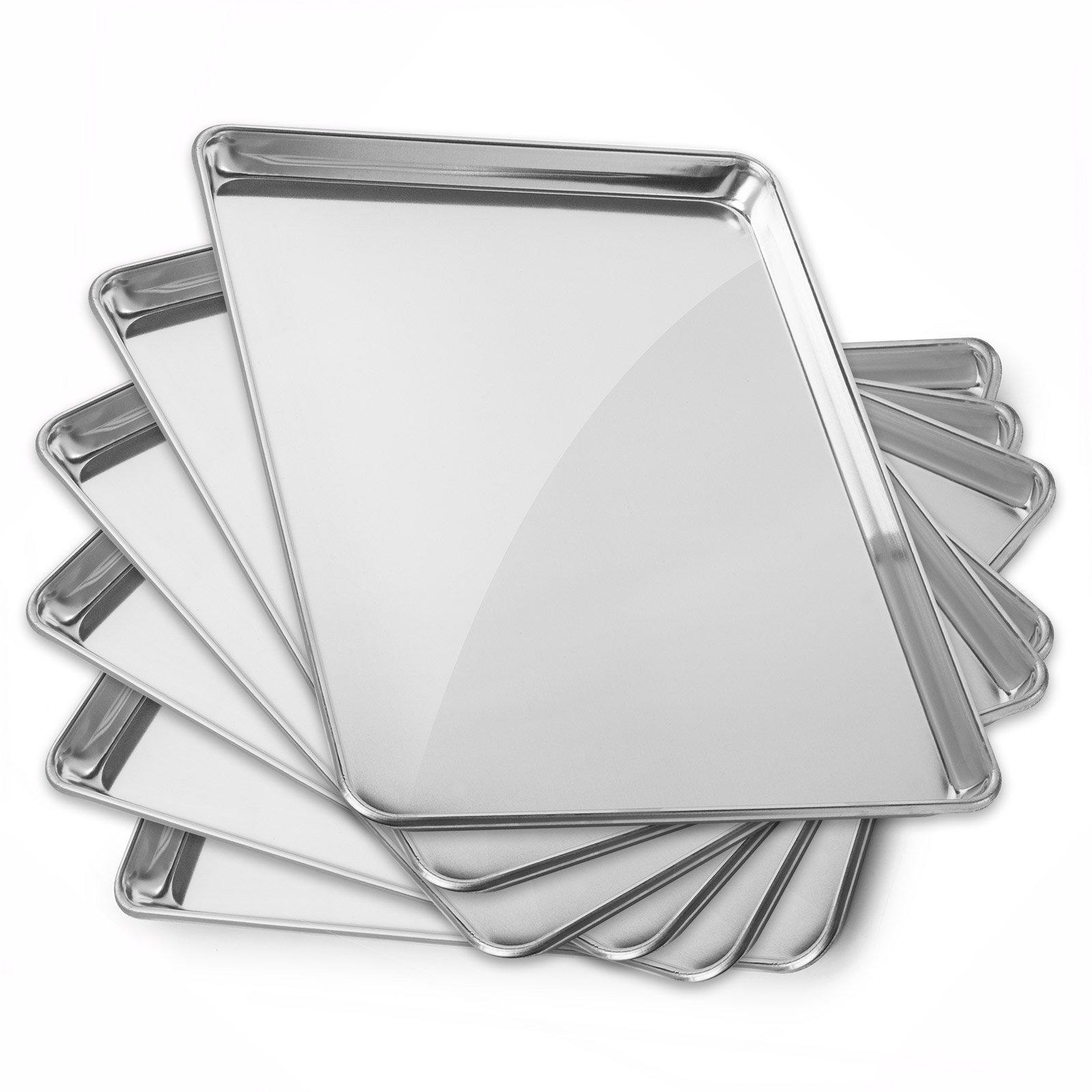 Gridmann 15'' x 21'' Commercial Grade Aluminium Cookie Sheet Baking Tray Pan Three Quarter Sheet - 6 Pans