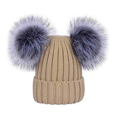 aa936adf2ad YoungSoul Bonnets femme chaud hiver - Bonnet tricot côtelé avec amovible  deux pompons en fausse fourrure