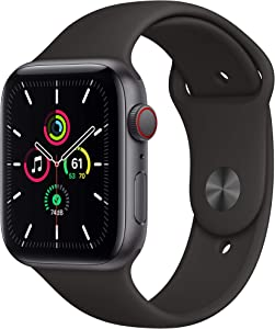 Apple Watch SE (GPS + Cellular, 44mm) - Space Gray Aluminum Case with Black Sport Band (Renewed)