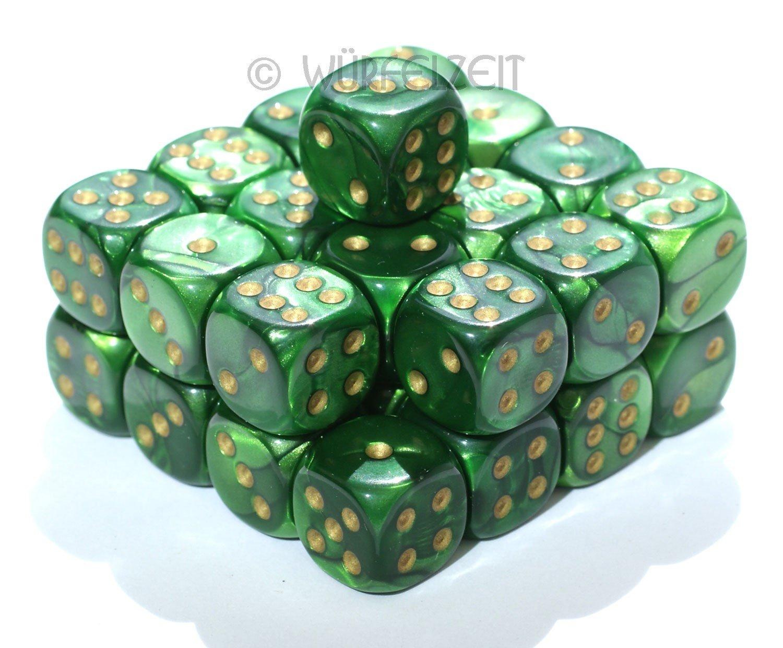 Würfelzeit 7415 - Würfel w6 12 mm, Silkki grün m/gold (32) Silkki grün m/gold (32)