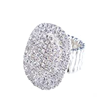 Santfe Women Adorable Crystal Rhinestones Oval Design Stretch Fashion Ring Shinning Silver Plated