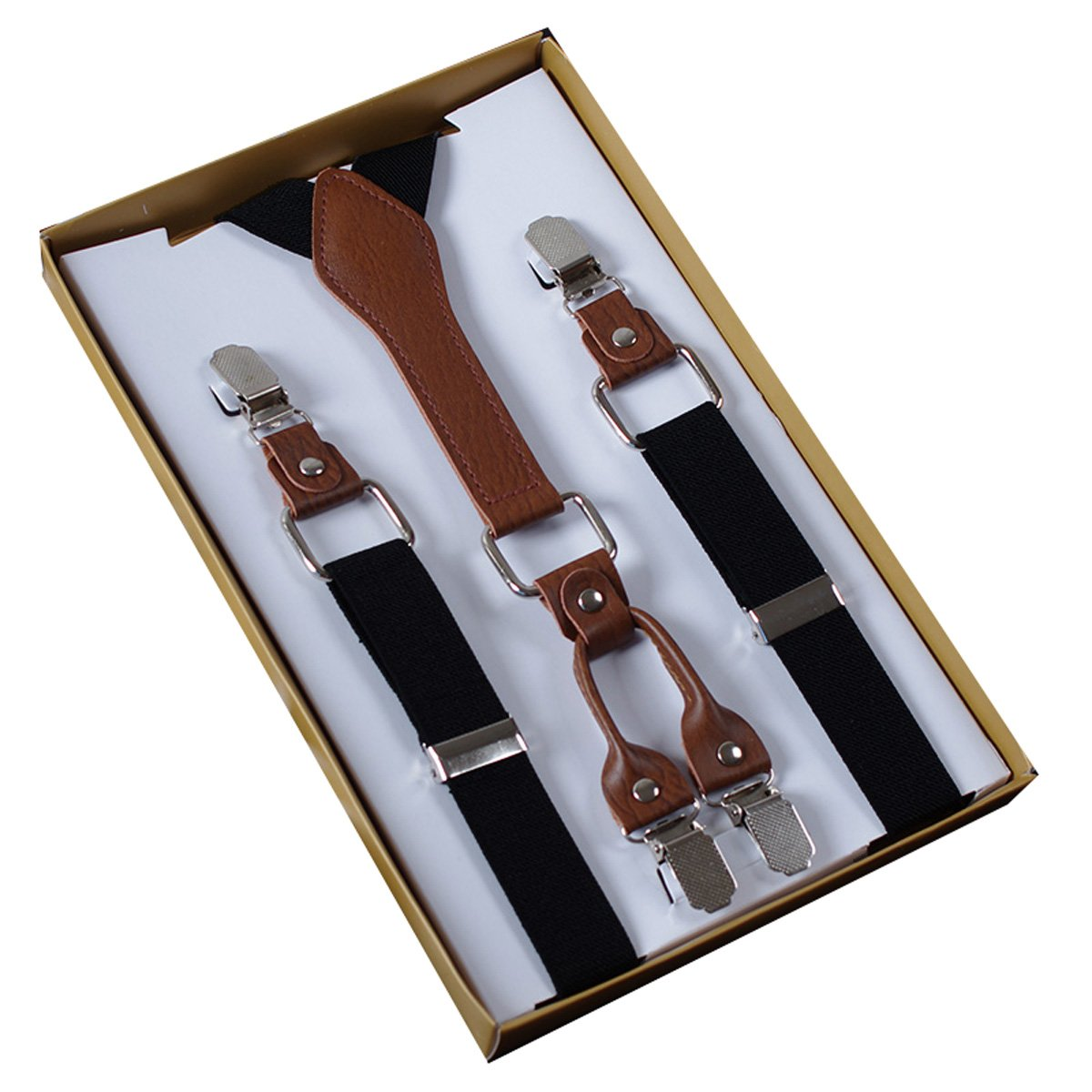 Panegy Men's Women's 4 Clips Adjustable Suspenders Elastic Y Shape Braces-Black WE18FS1290