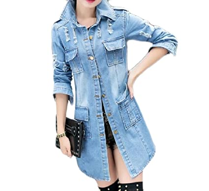 f2200785c58 SportsX Womens Fit Trench Coat Flexible Casual Destroyed Coat Mid-Long Denim  Jacket Blue XS