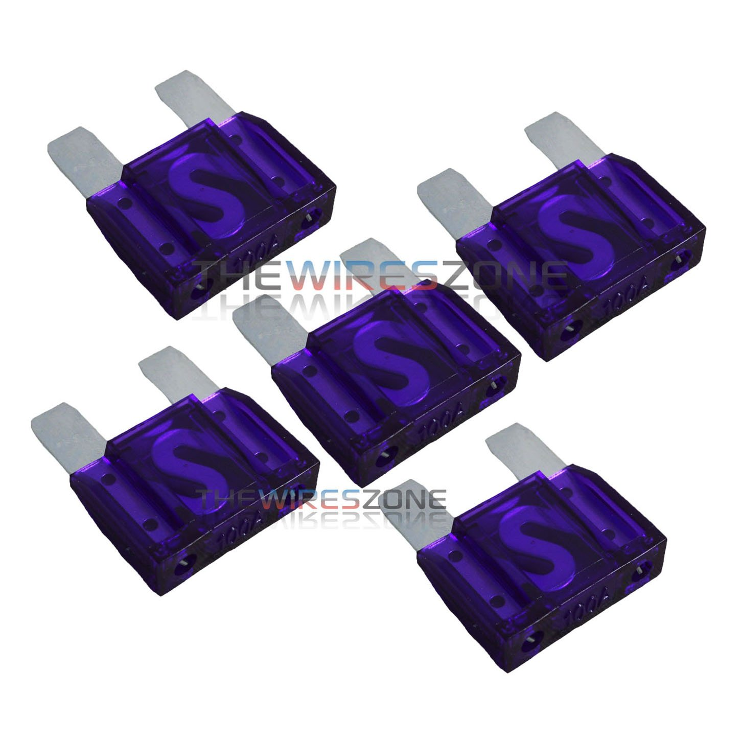 5 Pack of 100 Amp 100A Large Blade Style Audio Maxi Fuse for Car RV Boat Auto