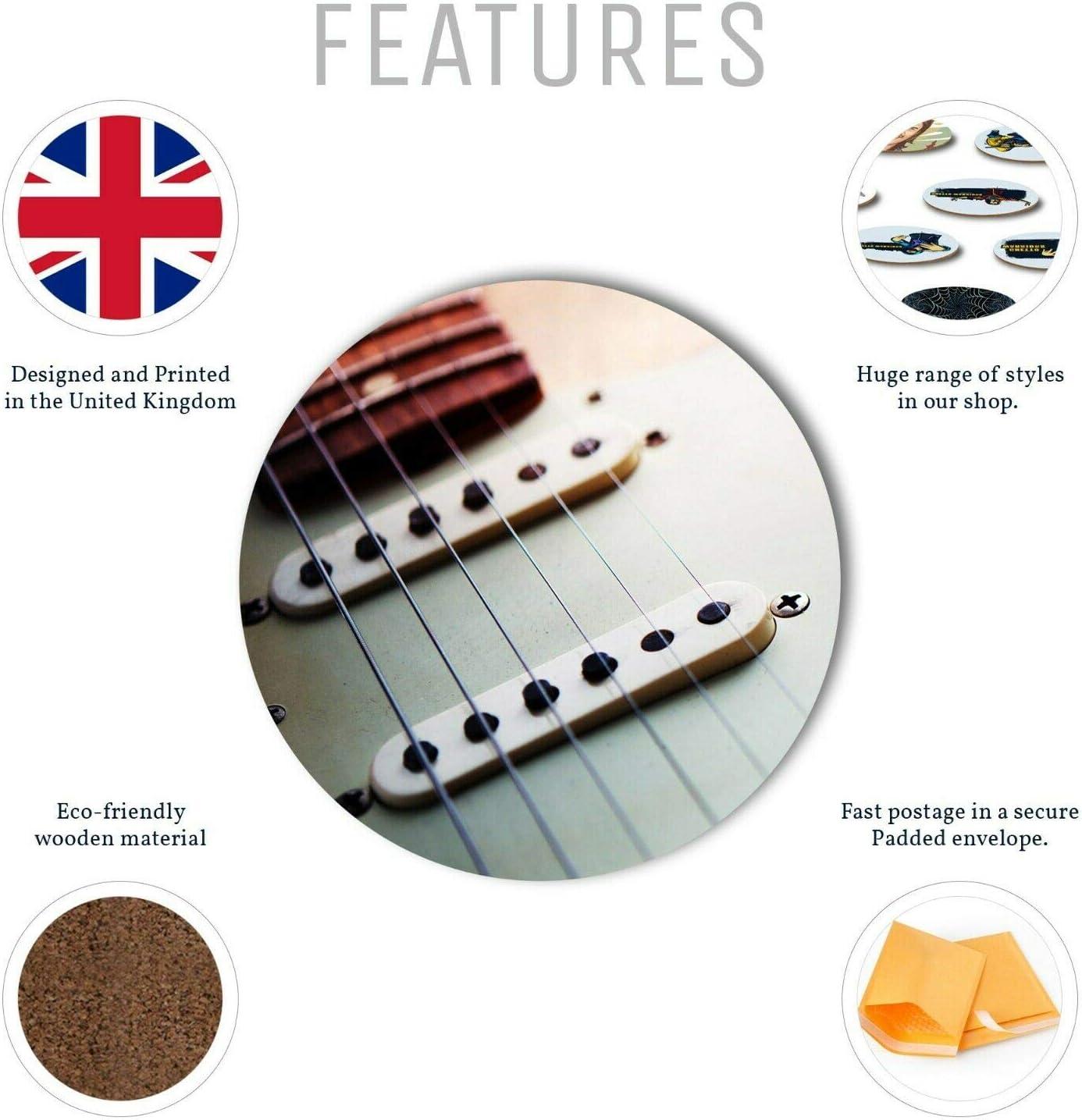 1 x impresionante guitarra eléctrica – Posavasos redondo Cocina ...