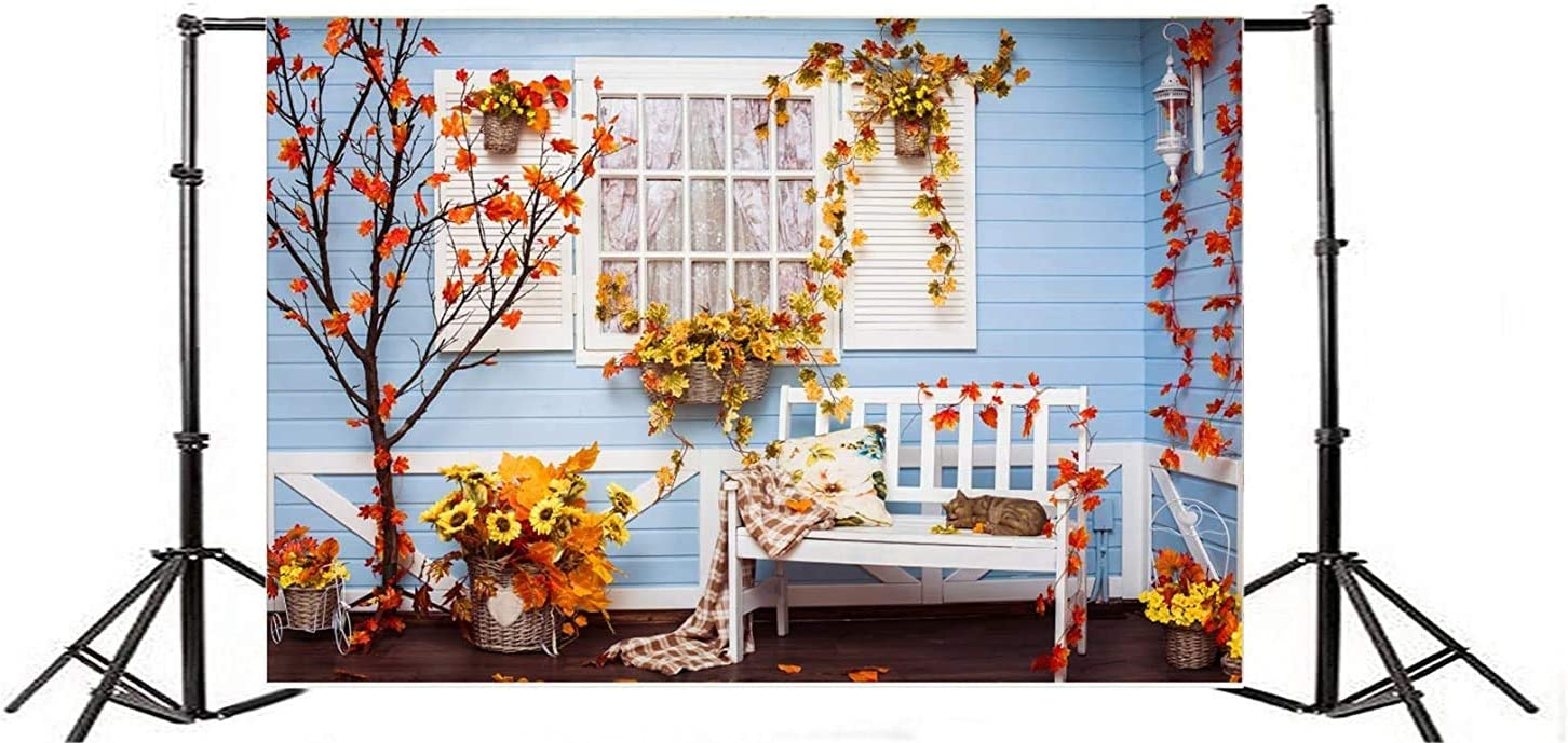 GoEoo 10x7ft Fall House Decoration Background Rustic Yellow Red Fallen Leaves Photography Backdrop Autumn Flowers Bench Ornament Photo Studio Props Dooryard Thanksgiving Holiday Party Vinyl Banner
