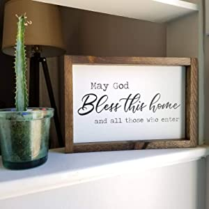 Flowershave357 May God Bless This Home and All Those who Enter Sign New homeowner Gift Bless This Home Sign Entryway Decor Wood Sign
