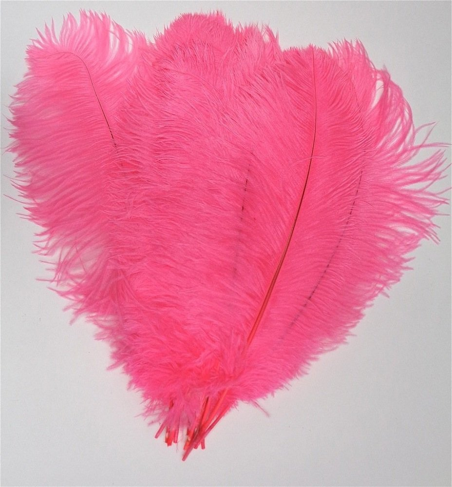 MELADY Pack of 500pcs Natural Ostrich Feathers 16-18inch(40~45cm) for Home Wedding Party Decoration (Dark pink)
