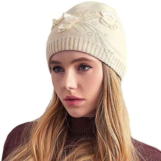 995d13d07e0 Cashmere Womens Soft Butterfly Winter Warm Hat Wool Knitted Beanie Wool Cap  with Gift Box (
