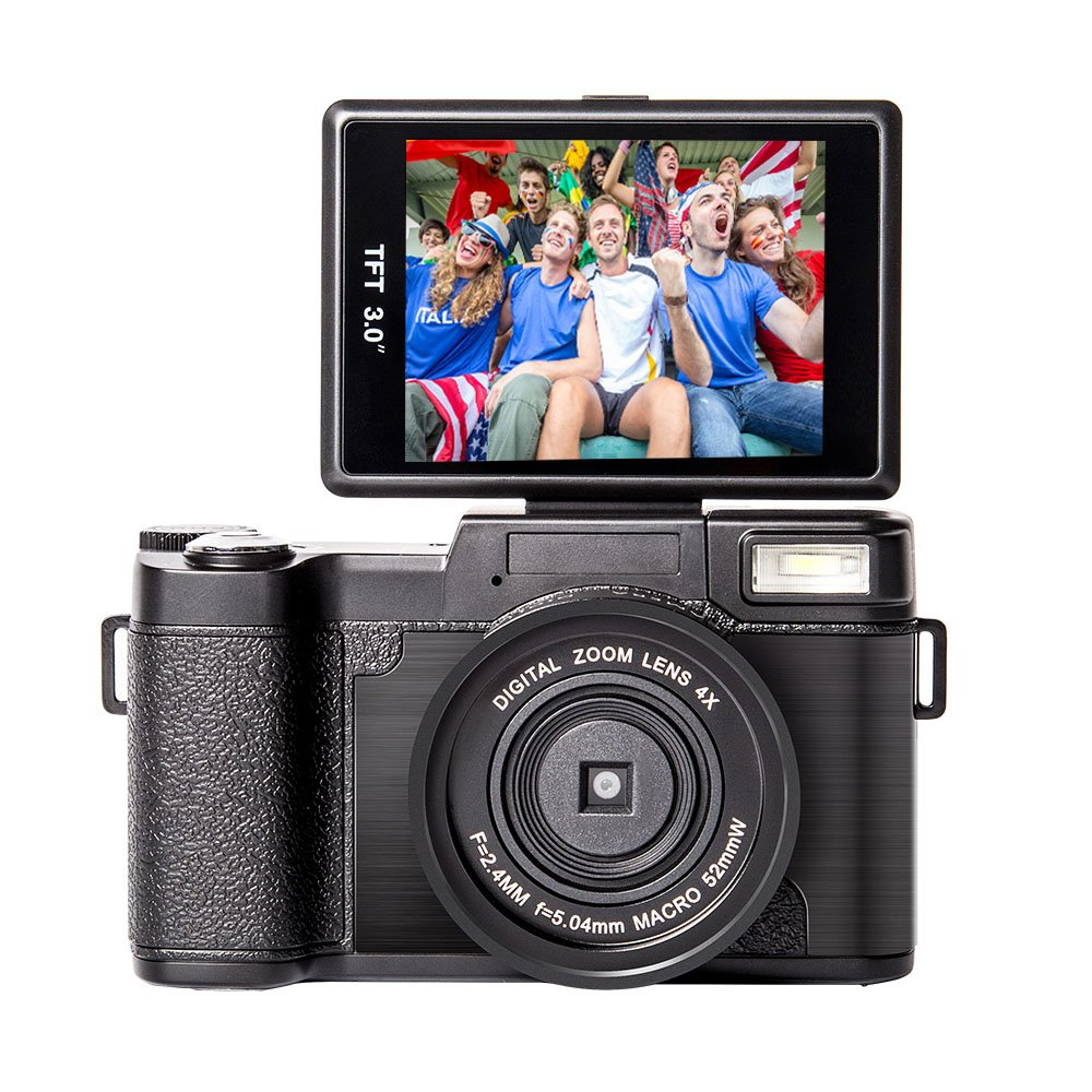 YSANY Full HD 1080p Camcorder Vlogging Camera 3.0'' Filp Screen 24.0 Megapixels Camera Include 52MM Wide Angle Close Up Lens by YSANY