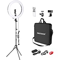 Neewer Advanced 2.4G 18-inch LED Ring Light, Bi-Color 3200-5600K Dimmable with LCD Screen and 2.4G Wireless Remote…