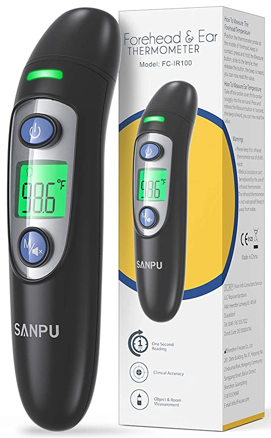 Thermometer for Adults Forehead with Ear Function Fever Alarm and 35 Set Memory Recall Thermometer for Fever Instant Accurate Reading Infrared Thermometer for Babies and Children