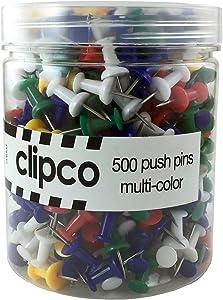 Clipco Push Pins Jar Assorted Colors (500-Count)