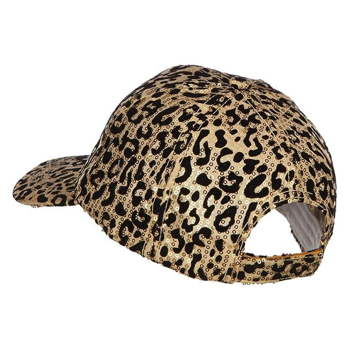 705369024eae9 Animal Leopard Print Sequin Cap - Gold OSFM at Amazon Women s Clothing store