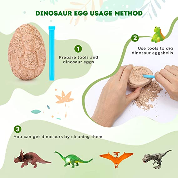4 Pack CPSYUB Baby Toys 12-18 Months Dino Hatching Eggs Toys for 3 Years Old and up Girls // Boys Dinosaur Egg Toys for Learning The History of Dinosaurs