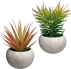 Mini Artificial Succulent Plants 2 Pack Fake Succulent Plants Potted Faux Red Grass Pine Needles with Pots for House, Farmhouse, Bathroom, Office, Home Decor