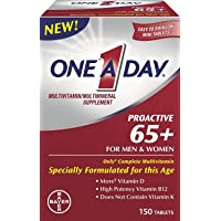 One A Day Proactive 65+ Mens & Womens Multivitamin, Supplement with Vitamin A, Vitamin C, Vitamin D, and Zinc for Immune Health Support, Calcium, Folic Acid & more, 150 count