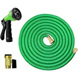Expandable Garden Hose with 8 Pattern Hand Spray Nozzle Solid Brass Ends Lightweight Flexible Watering Hose Double Latex Core, Extra Strength Fabric 50ft(Green)