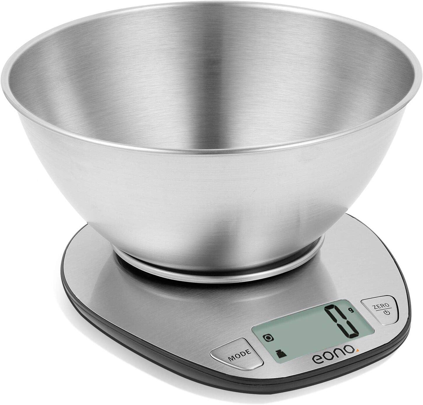 Eono by Amazon - Báscula de cocina digital; báscula de acero inoxidable con cuenco desmontable para hornear y cocinar; con función de tara y pantalla LCD; 5kg; 15años de garantía