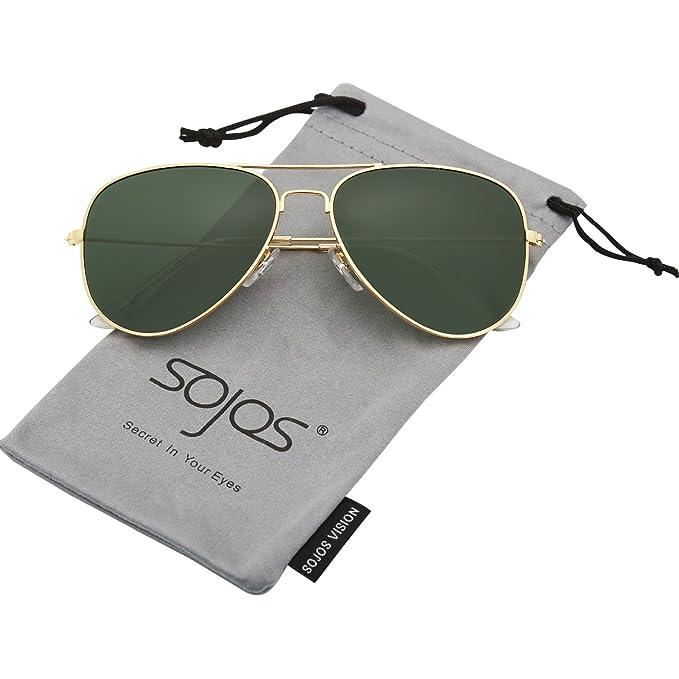 4cc5246619 SojoS Gafas De Sol Para Hombres Y Mujeres Aviator Clásico Marco Metal  Lentes Espejo Polarizadas SJ1054 Marco Dorado/Lentes G15: Amazon.es: Ropa y  accesorios