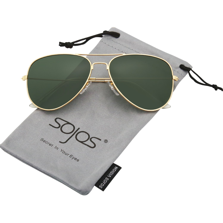 2e69f15c74 Galleon - SOJOS Classic Aviator Polarized Sunglasses Mirrored UV400 Lens  SJ1054 With Gold Frame G15 Lens