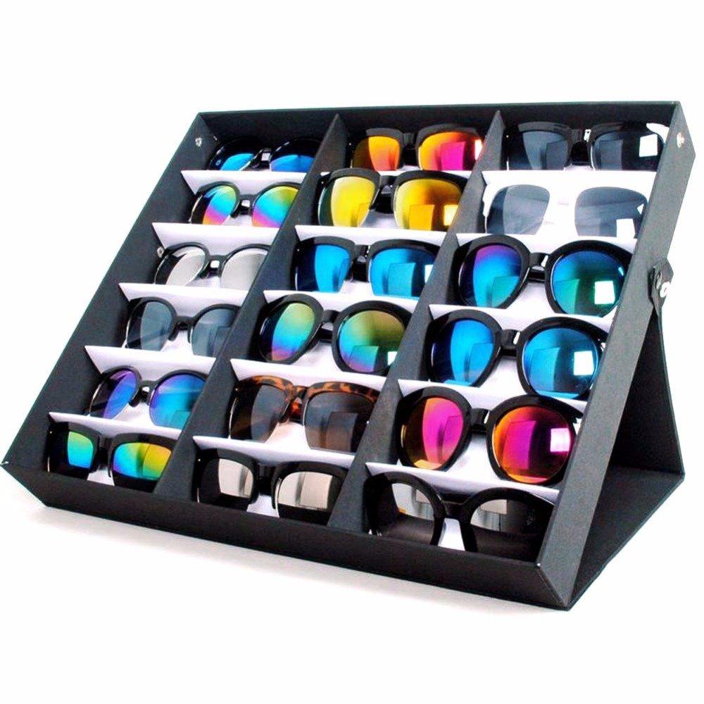Yumbyss - 18サングラスメガネ小売店展示スタンド収納ボックスケーストレイブラックサングラスアイウェアを表示トレイケーススタンド B07FPCH6BQ