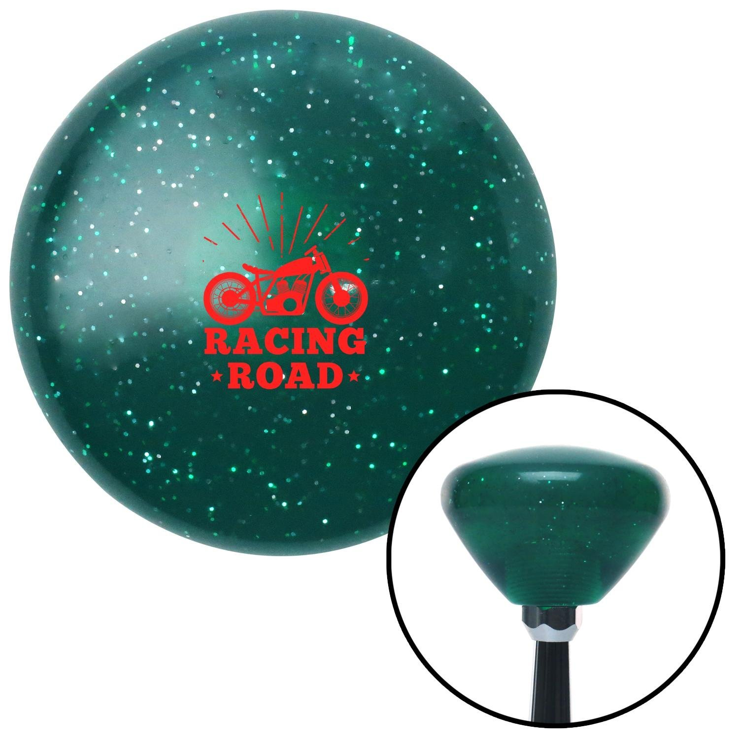 American Shifter 292001 Shift Knob Red Racing Road Green Retro Metal Flake with M16 x 1.5 Insert