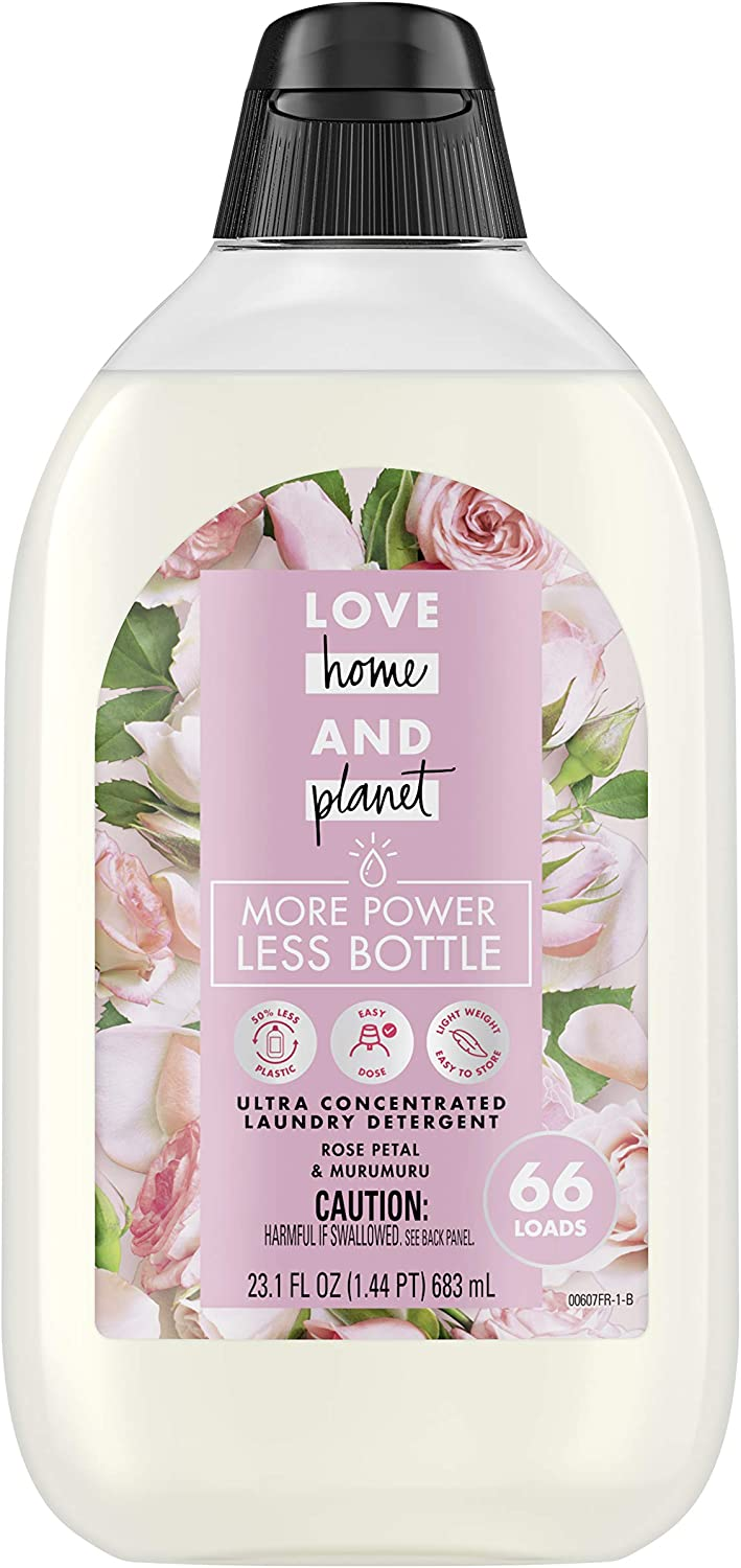 Love Home and Planet Ultra Concentrated Laundry Detergent, Rose Petal & Murumuru, 23 oz, 66 Loads