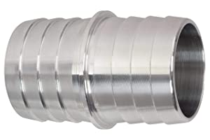 "ICT Billet 1-1/4"" to 1-1/4"" Inch Hose Barb Splice Coupler Repair Fitting Adapter Connector Radiator Coolant Intercooler Heat Exchanger Fluid Designed & Manufactured in USA Bare Aluminum AN627-20A"