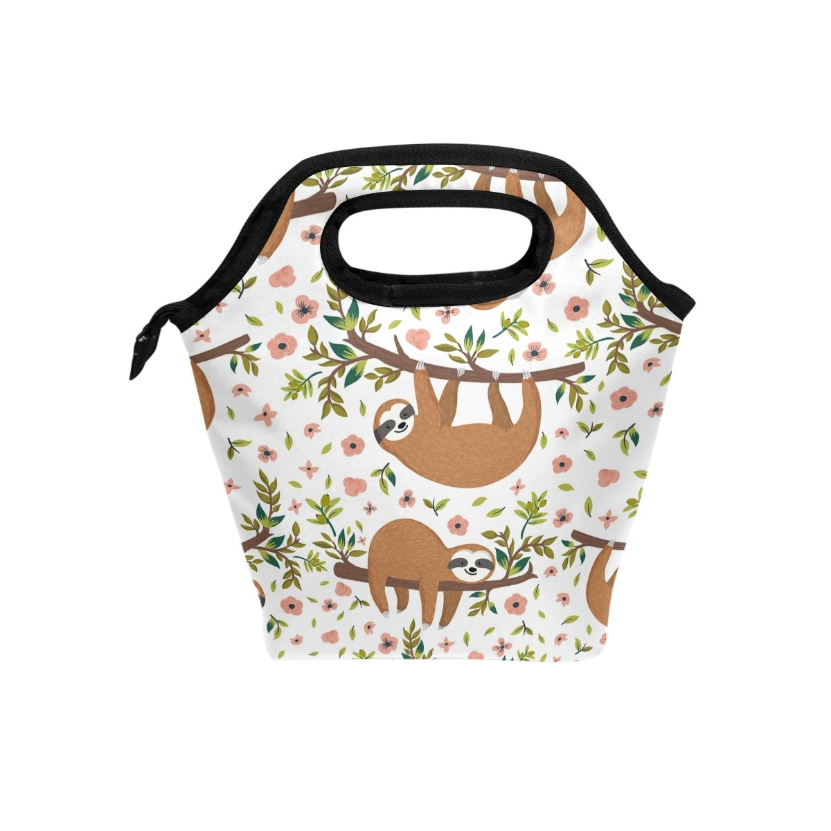 ALAZA Hand Drawn Baby Sloth With Flowers Branch Animal Waterproof Reusable Durable Insulated Lunch Boxes for Women Teen Girls Lunch Bag Box Tote for School Work Office Picnic Travel Mom Bag