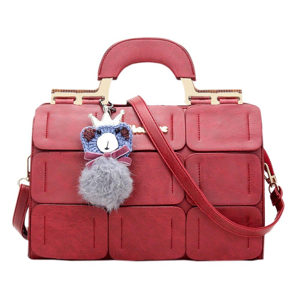 ShiningLove Fashion Women Leather Crossbody Bag Fuzz Ball Pendant Solid Color Shoulder Bag Satchel