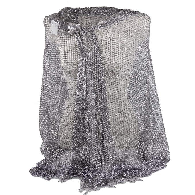 6880939a5308c2 Emila Stola argento cerimonia coprispalle elegante con frange a rete sciarpa  foulard fular scialle grande lurex da matrimonio per abito da sera giorno  ...