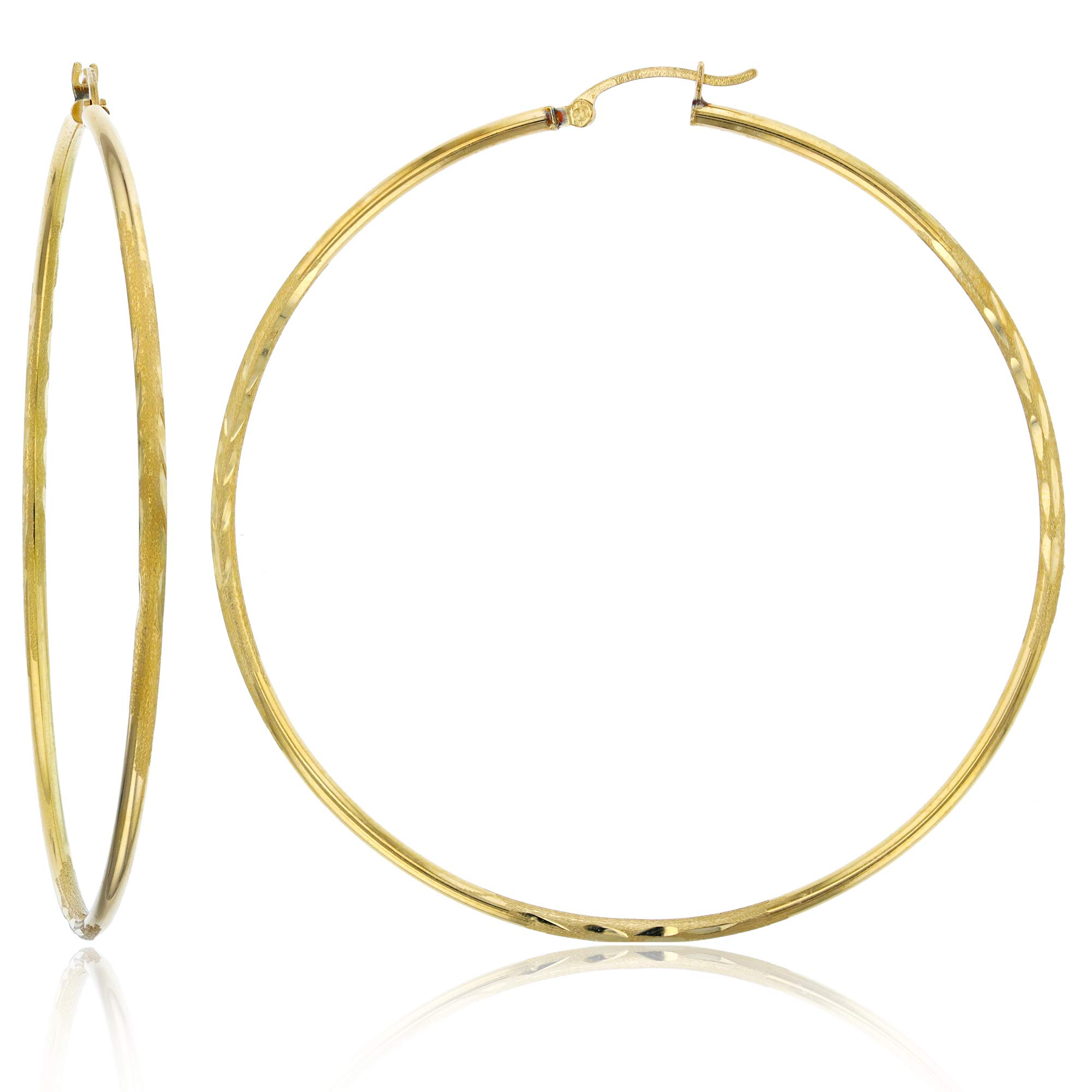 14k Yellow Gold Solid Polished Round Diamond Cut Hoop Earrings for Women | 2mm Thick | Classic Style | Round Diamond Cut Hoop Earrings | Secure Click-Top | Shiny Polished Earrings for Women, 2x70mm by Decadence