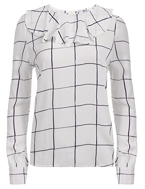 SummerRio Women's Vintage Ruffle Round Collar Plaid Casual Top Shirt, M, White