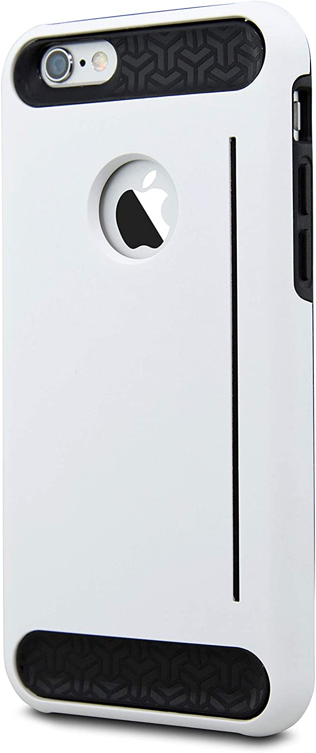Robotek Slim Impact Resistant iPhone 6S / iPhone 6 Wallet Case | Hybrid Protective Shell with Shockproof Rugged Rubber Inner | Anti-Scratch Hard Cover Skin ID Slot Card Holder for iPhone 6 6S (White)