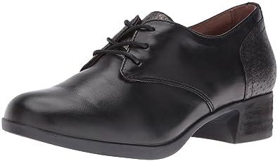 Dansko Womens Louise Burnished Nappa Leather Closed Toe Oxfords Black Size 7.5