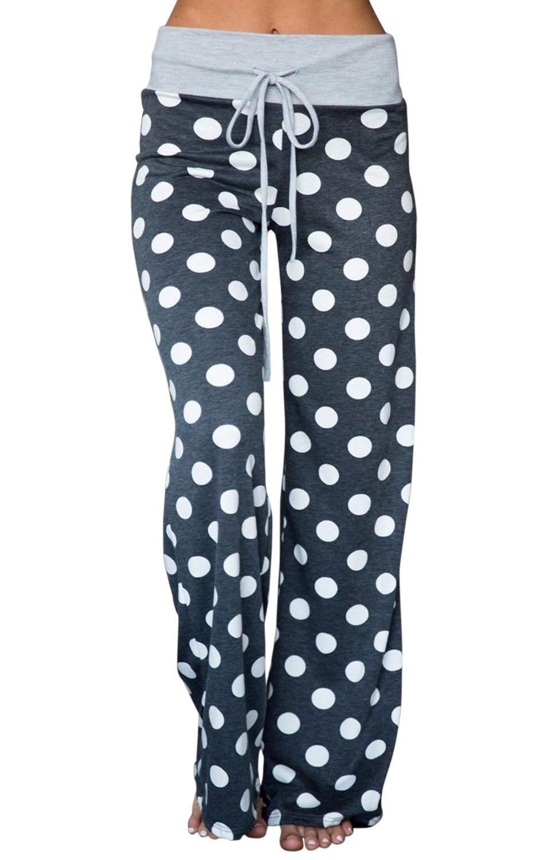AMiERY Women's Summer Comfy Pjs Pants High Waist Stretch Casual Drawstring Wide Leg Lounge Palazzo Pajama Pants (M, Blue-Grey)
