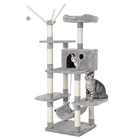 FEANDREA Árbol para Gatos Rascador con nidos Hamaca Plataformas Bolas de Juego 154 cm Colores Opcionales Gris Claro PCT86W
