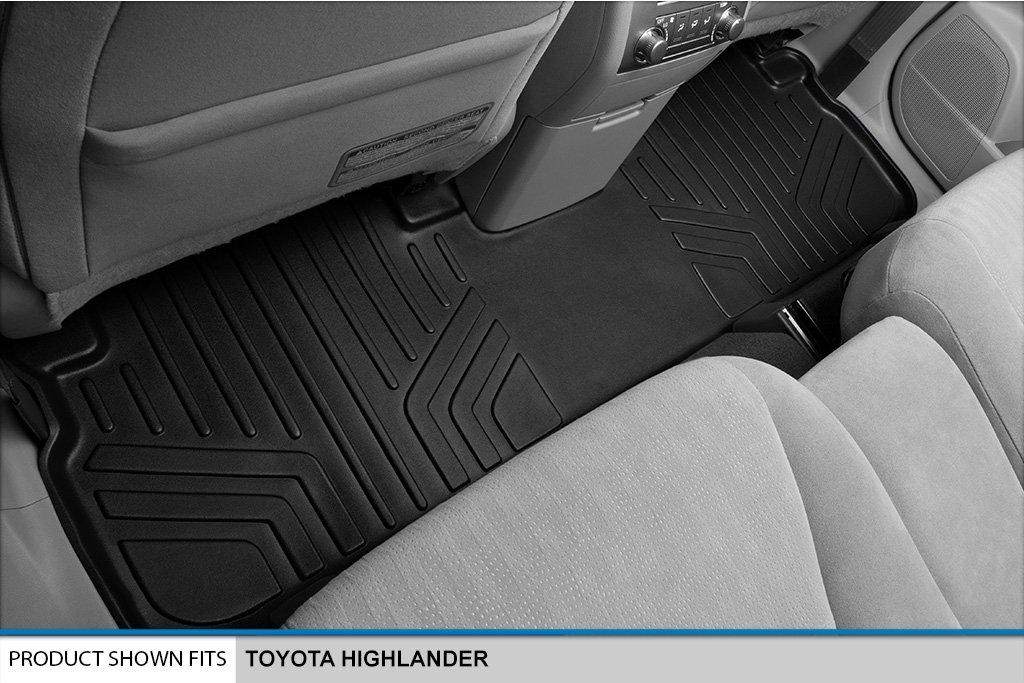 SMARTLINER Floor Mats 2 Row Liner Set Black for 2008-2013 Toyota Highlander Non Hybrid
